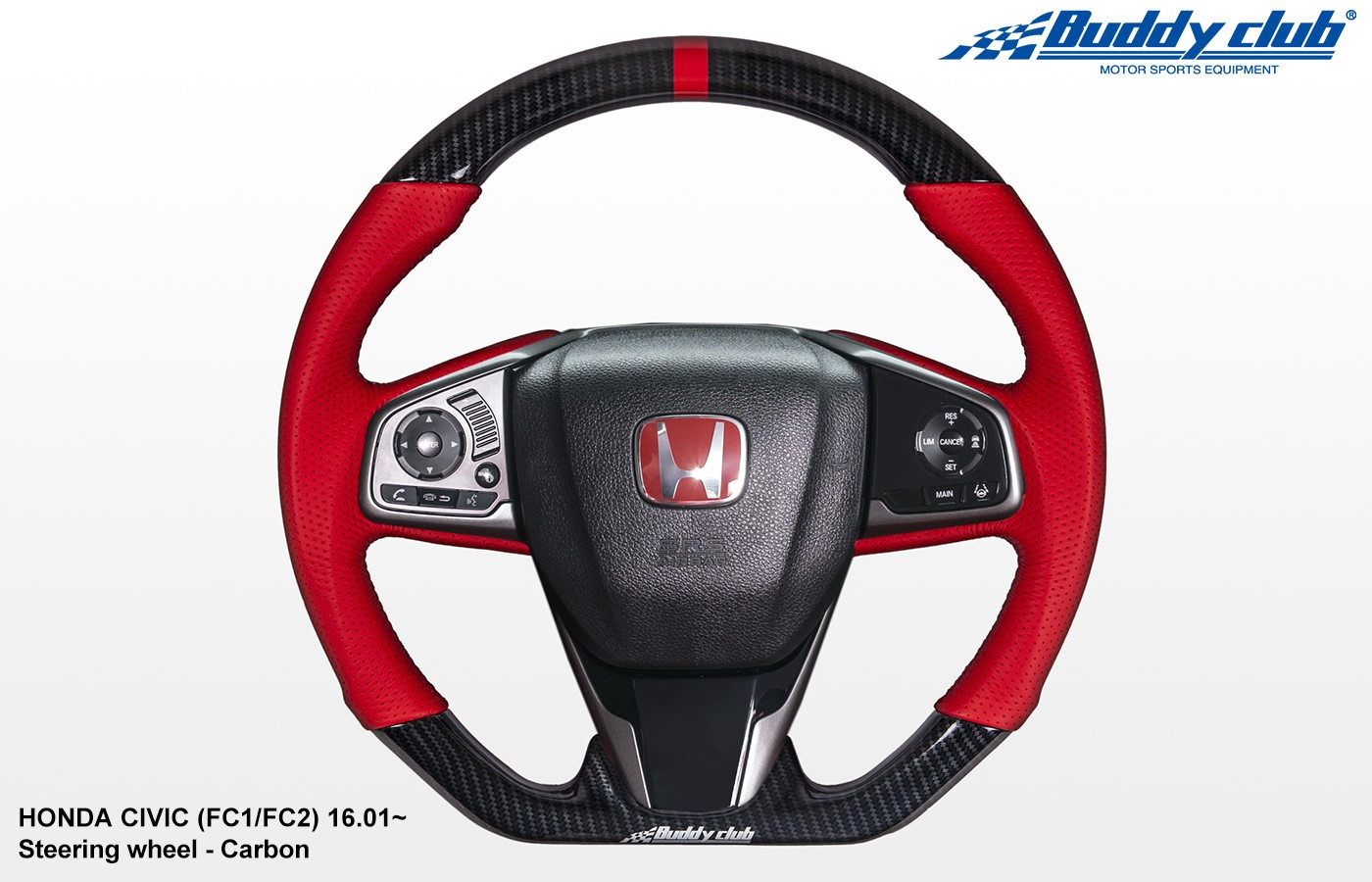 BUDDY CLUB STEERING WHEEL:  CIVIC 16-18 INCLUDING TYPE R 17-18 (CARBON)