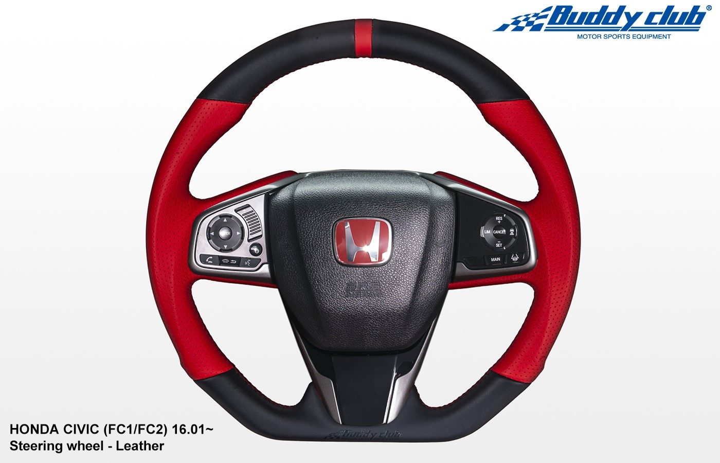 BUDDY CLUB STEERING WHEEL:  CIVIC 16-18 INCLUDING TYPE R 17-18 (LEATHER)