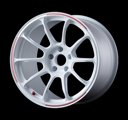 VOLK RACING ZE40: 18x9.5 5x120 +46mm (DASH WHITE/REDOT)